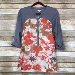 Anthropologie Odille Watercolor Floral Popover Top